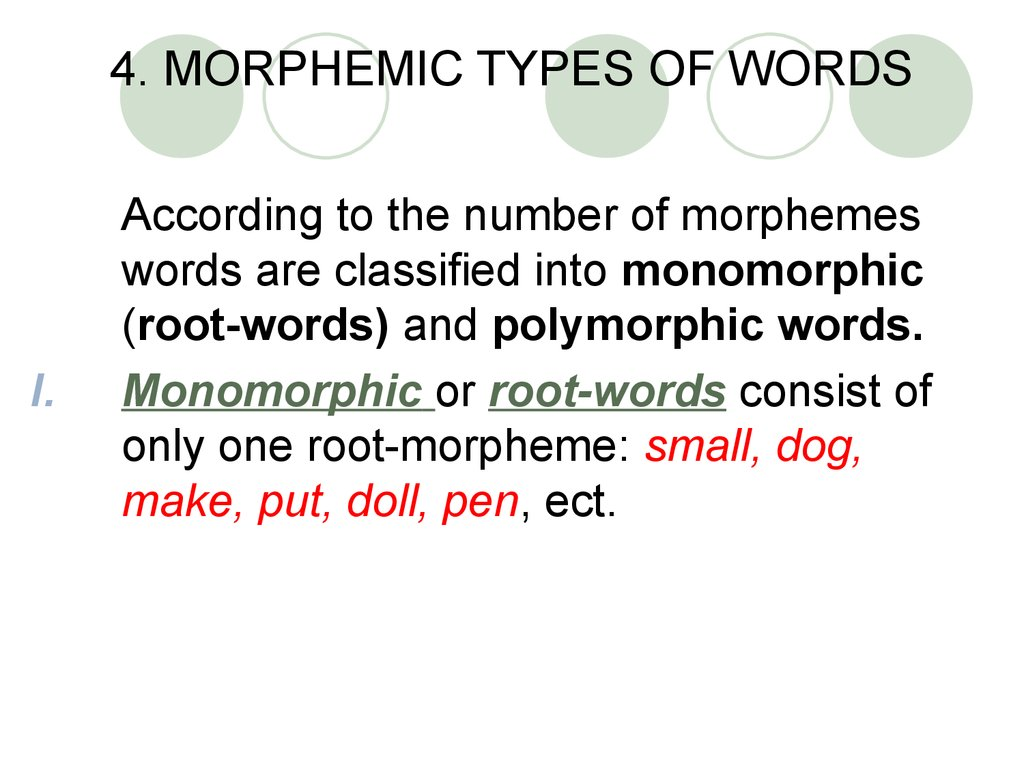 4. MORPHEMIC TYPES OF WORDS