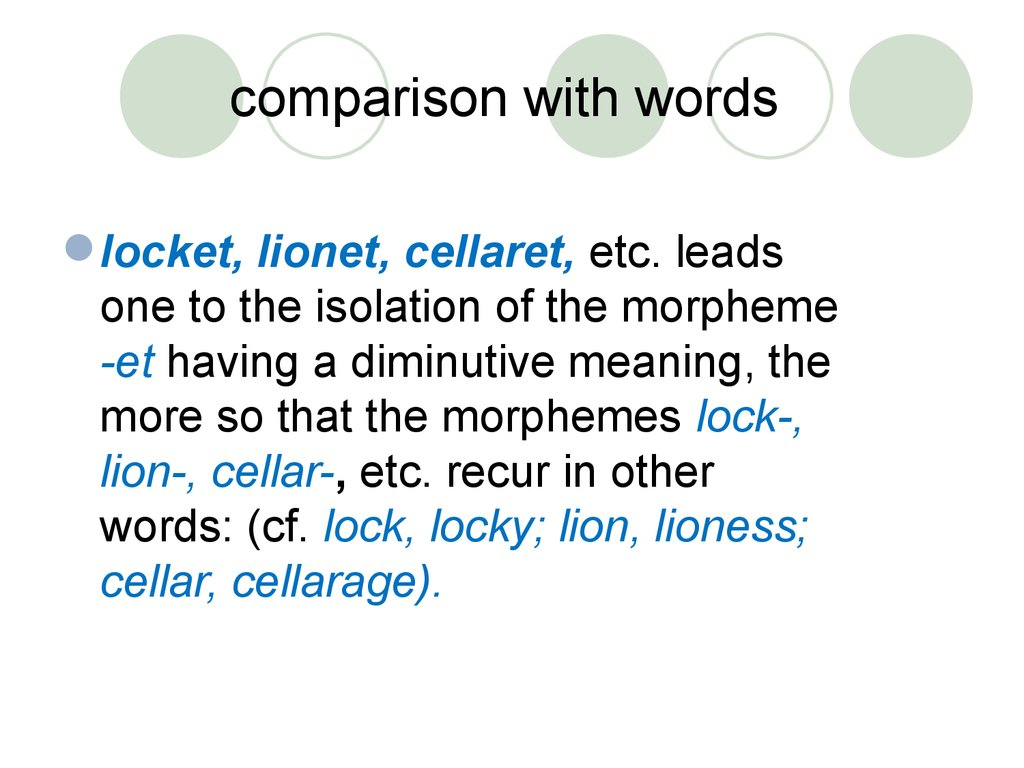 comparison with words