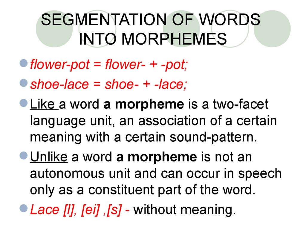SEGMENTATION OF WORDS INTO MORPHEMES