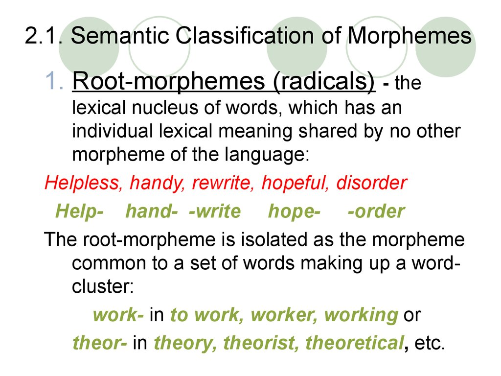 2.1. Semantic Classification of Morphemes