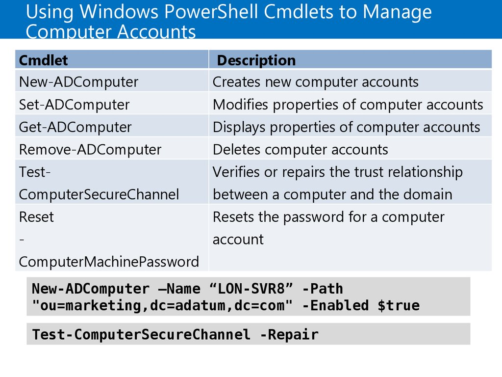 Using Windows PowerShell Cmdlets to Manage Computer Accounts