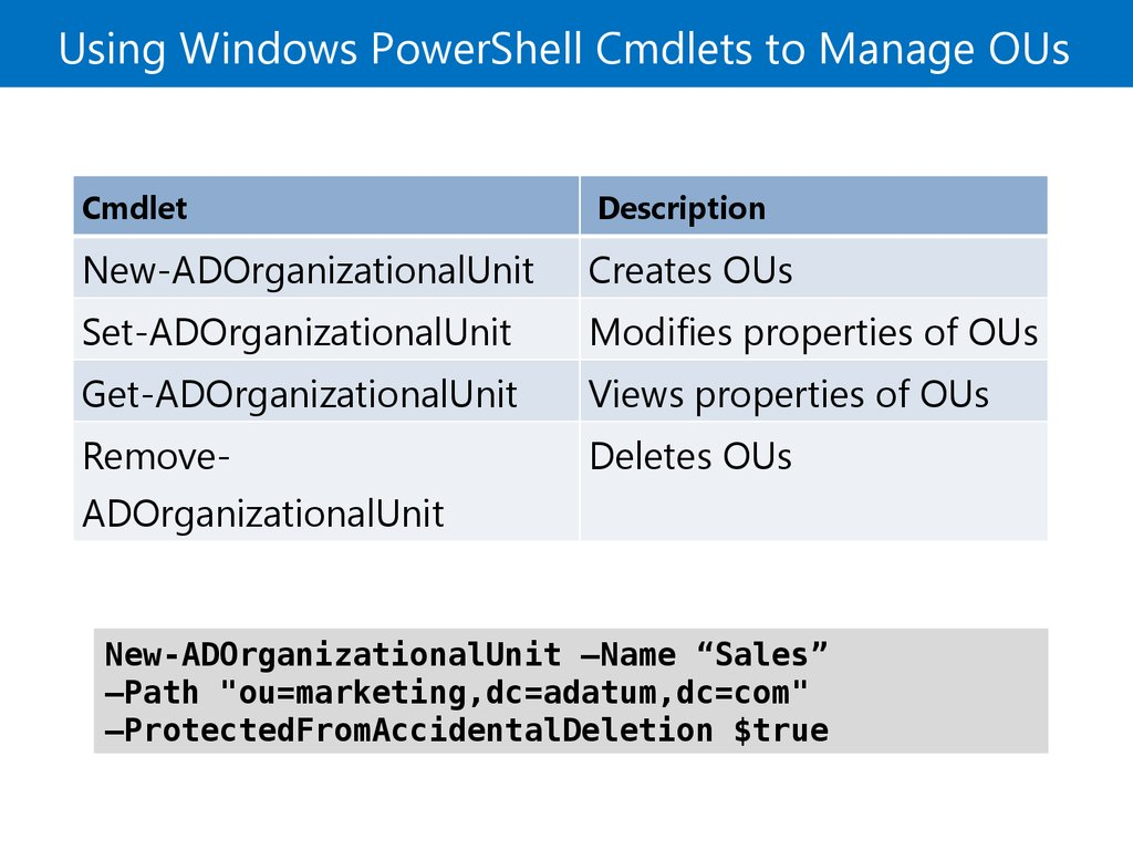 Using Windows PowerShell Cmdlets to Manage OUs