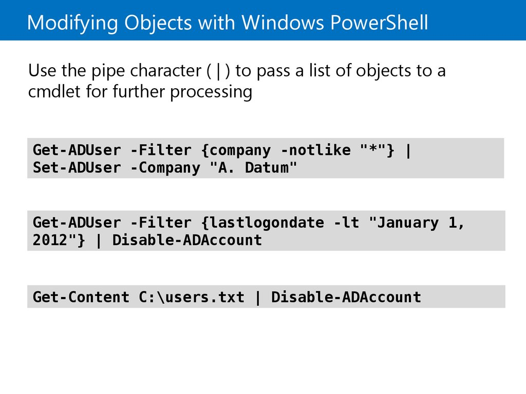 Modifying Objects with Windows PowerShell