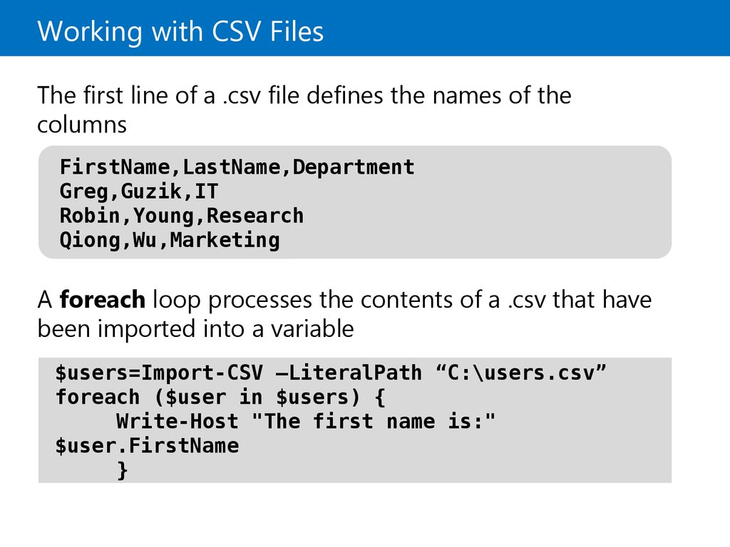 Working with CSV Files