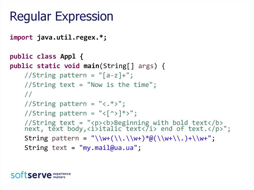 String Regular Expression  Java Core - online presentation