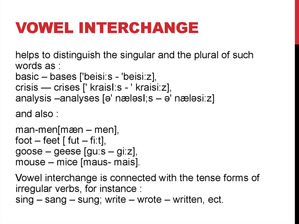 Vowel interchange