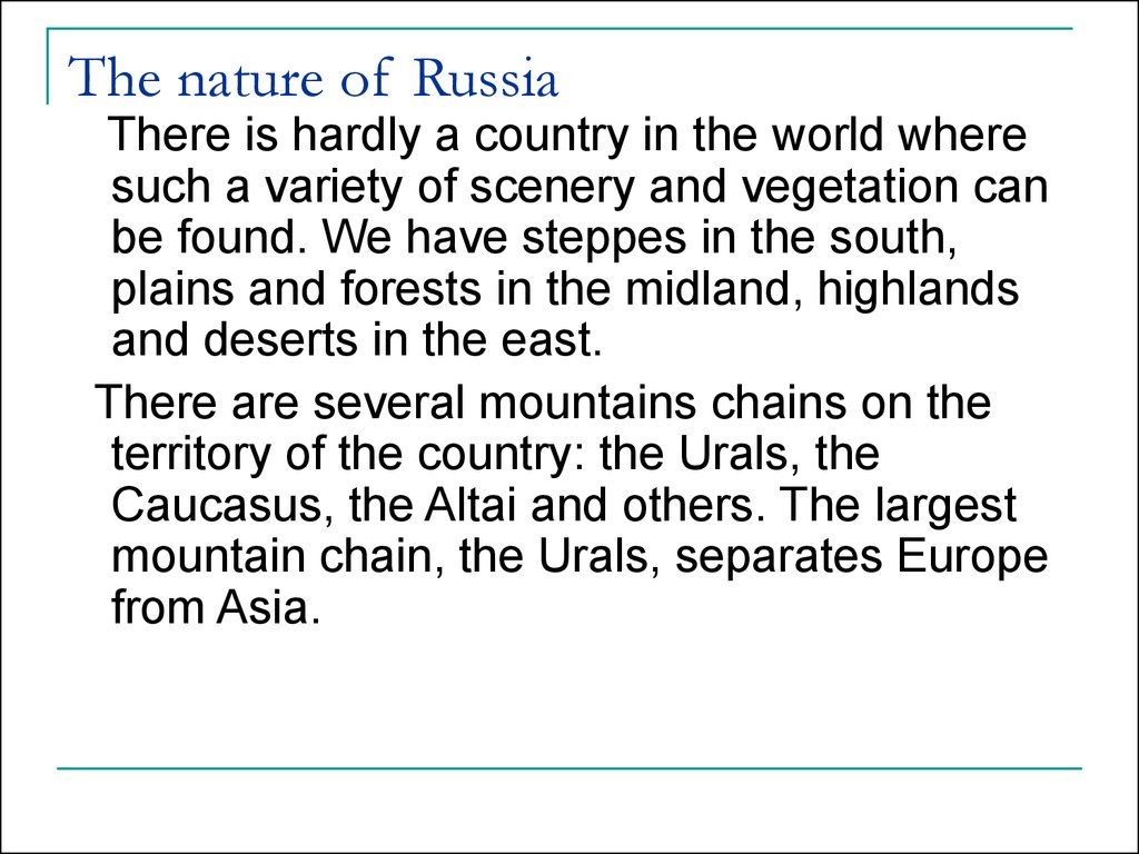 The nature of Russia