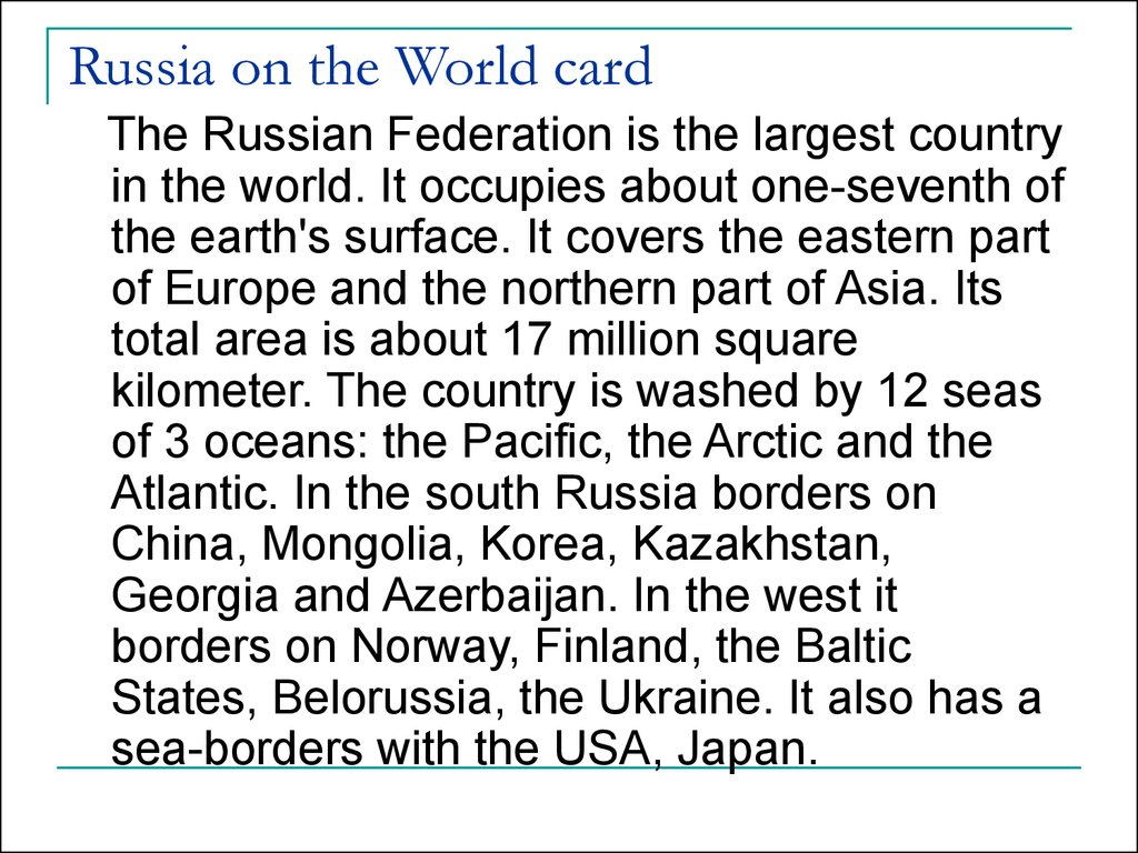 Russia on the World card