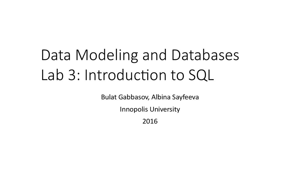 Data Modeling and Databases Lab 3: Introduction to SQL