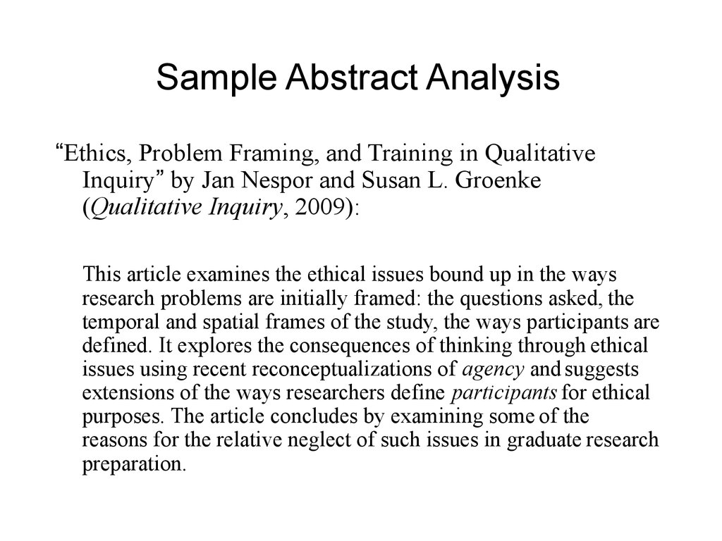 sample abstract Gaining perspective of the world through science, ciritical thinking leadership, and creative problem solving.