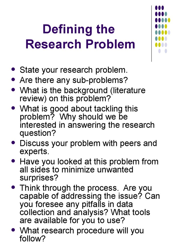 the research problem The identification of research problem is the first and foremost step that every researcher has to undertake at times, it becomes rather difficult for an inexperienced researcher or a novice/beginner in research to conceptualize a research problem.