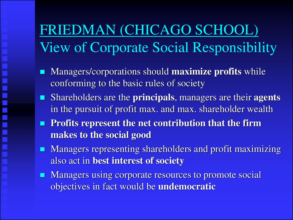 FRIEDMAN (CHICAGO SCHOOL) View of Corporate Social Responsibility