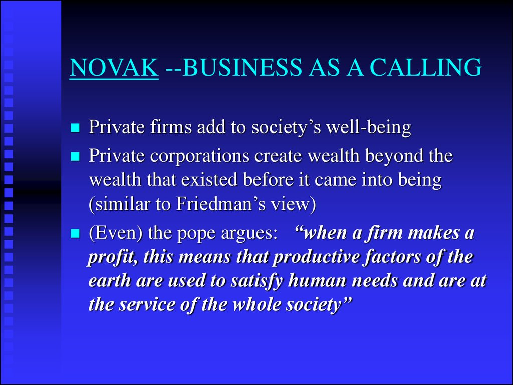 NOVAK --BUSINESS AS A CALLING