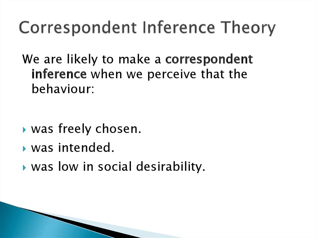 Correspondent Inference Theory