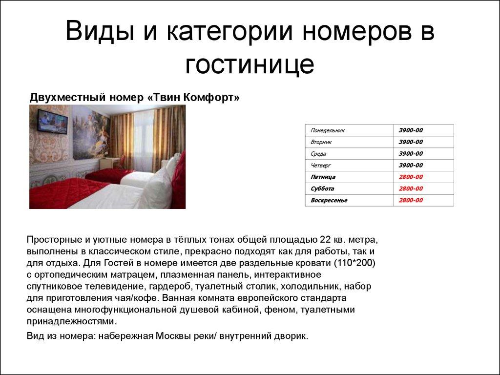 Отчёт по практике в гостиничном предприятии ООО Гарант   Виды и категории номеров в гостинице