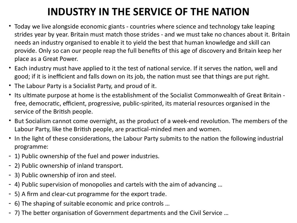 INDUSTRY IN THE SERVICE OF THE NATION