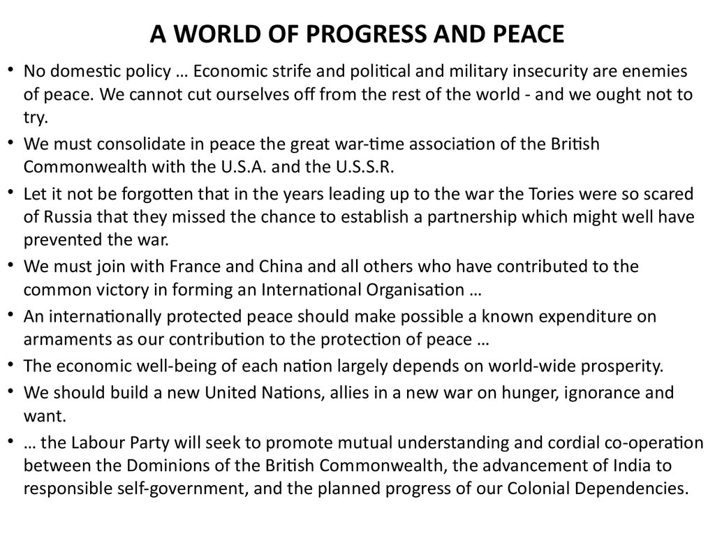 A WORLD OF PROGRESS AND PEACE