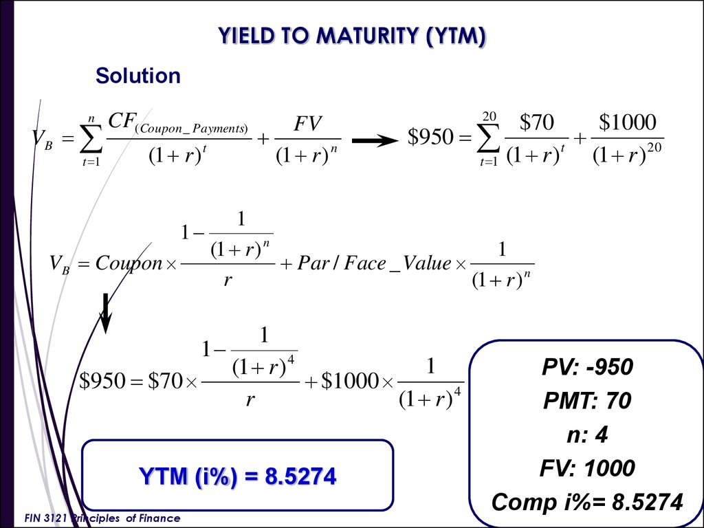 yield to maturity paper Question using semi-annual compounding, what is the yield to maturity on a 465 percent coupon bond with 18 years left to maturity that is offered for sale at $1,02595.