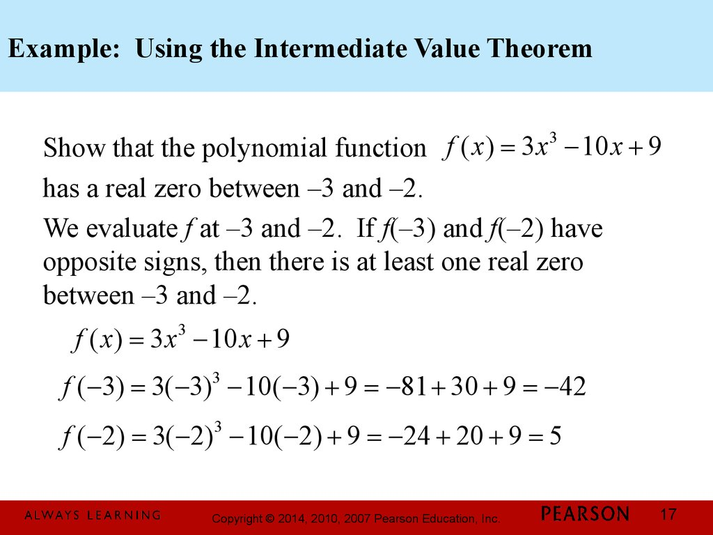 Example: Using the Intermediate Value Theorem