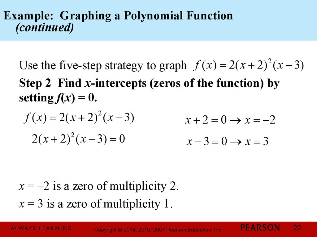 Example: Graphing a Polynomial Function (continued)