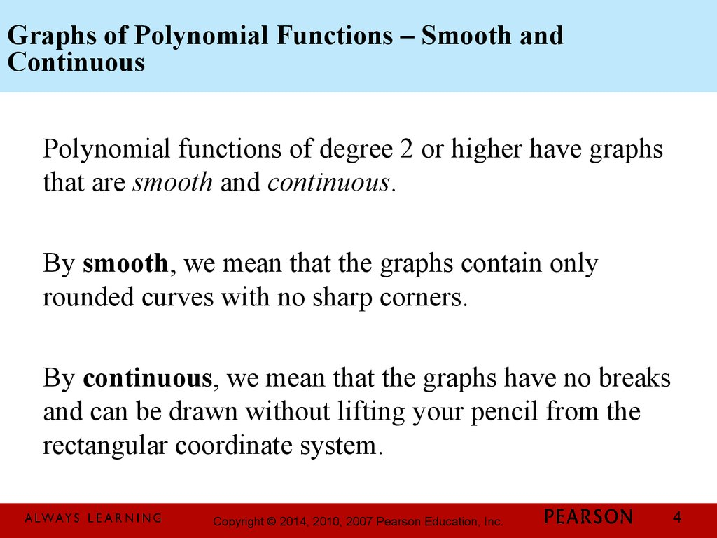 Graphs of Polynomial Functions – Smooth and Continuous