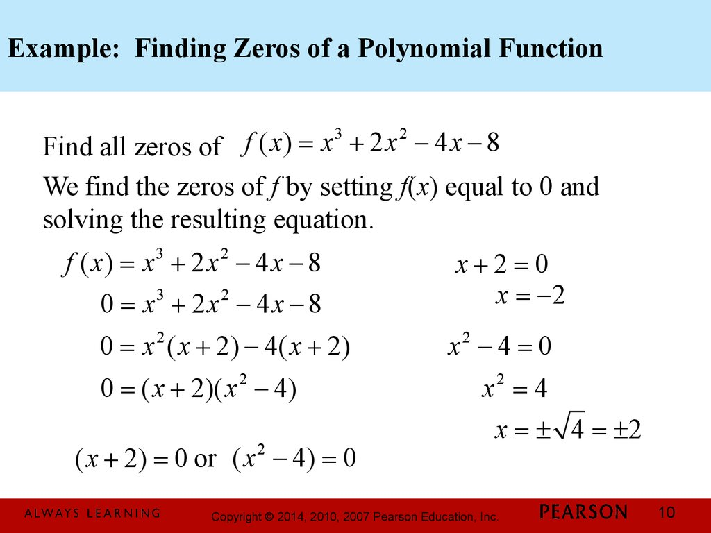 Example: Finding Zeros of a Polynomial Function