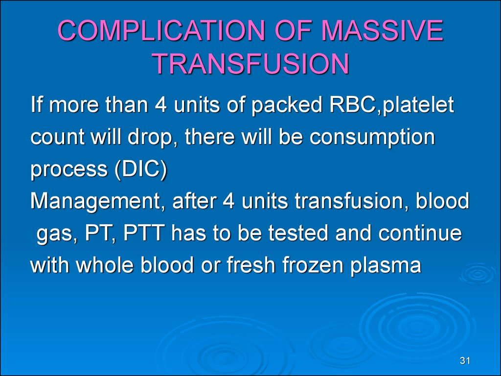COMPLICATION OF MASSIVE TRANSFUSION