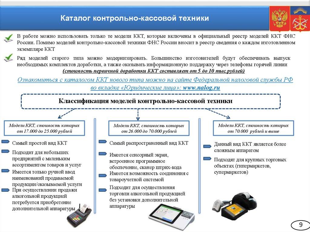 О вопросах применения новой контрольно кассовой техники в  Каталог контрольно кассовой техники В работе можно использовать только те модели ККТ которые включены в официальный реестр моделей ККТ ФНС
