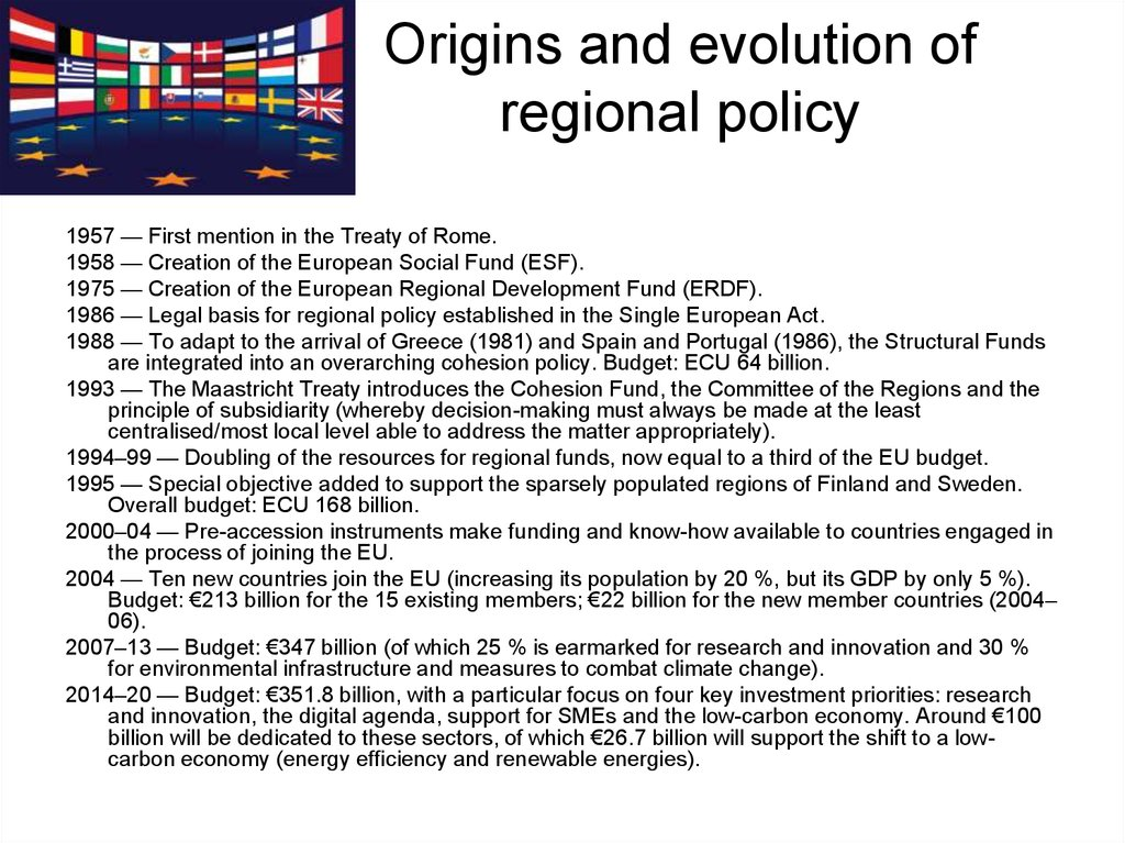 Origins and evolution of regional policy