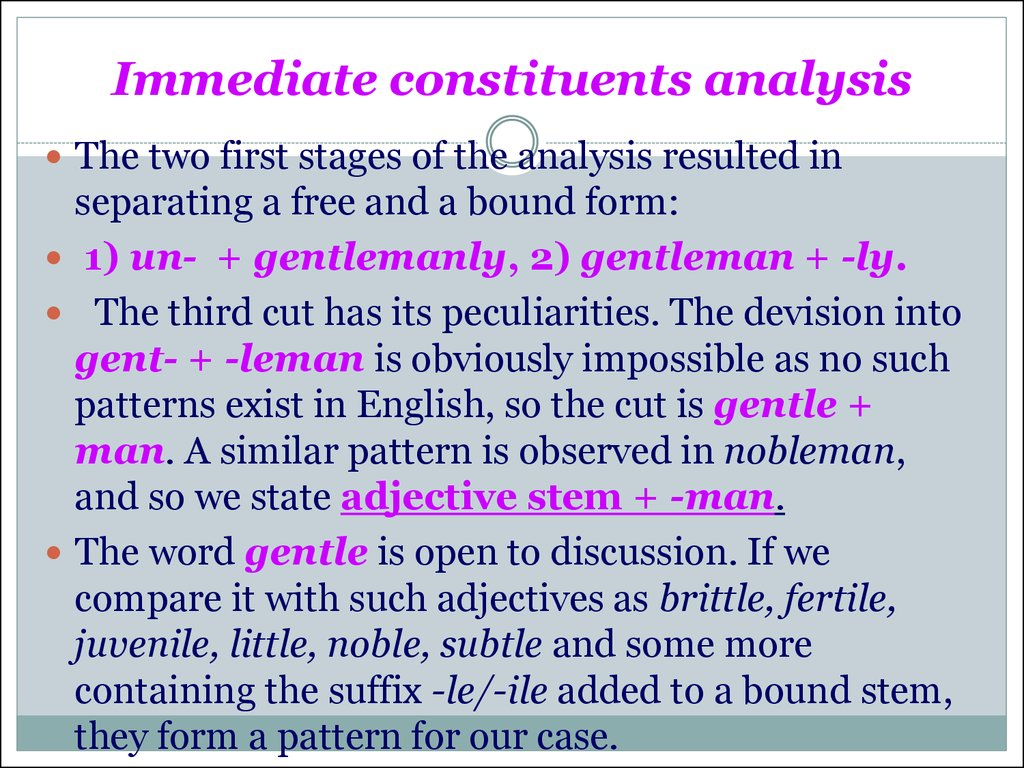 Immediate constituents analysis