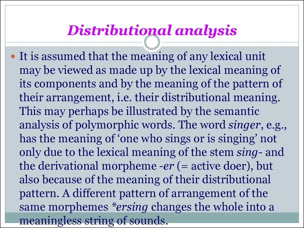 Distributional analysis