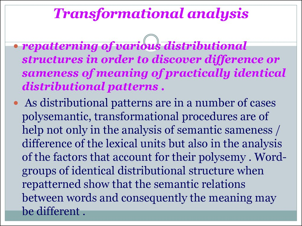 methods and procedures of lexicological analysis