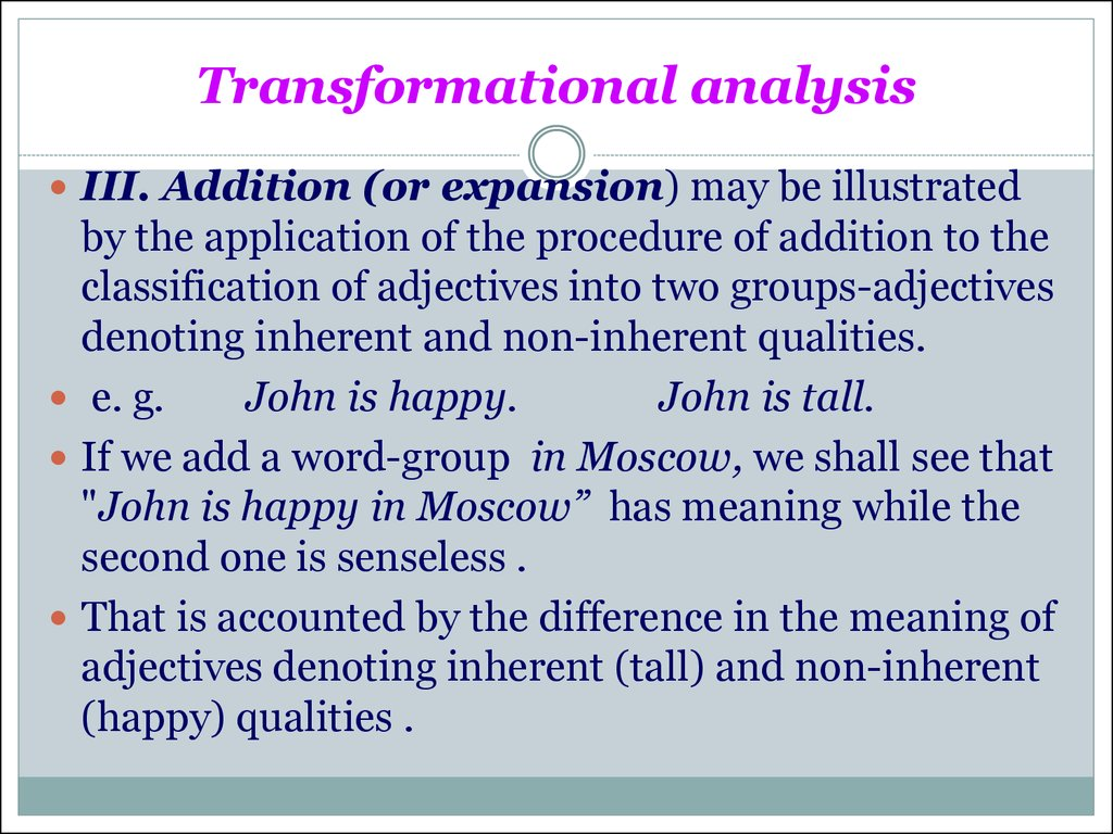 Transformational analysis