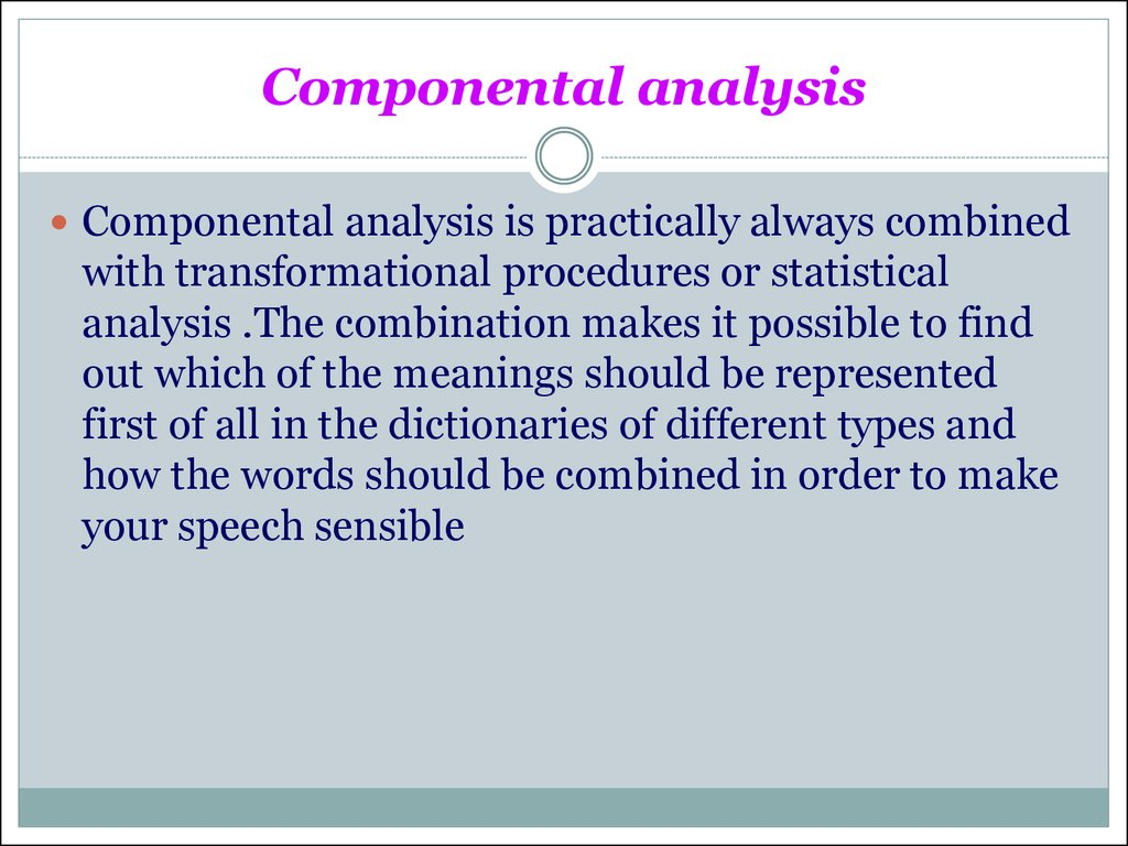 Componental analysis