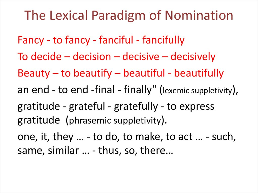 The Lexical Paradigm of Nomination