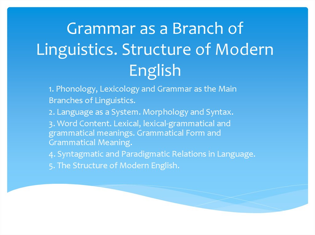 Grammar as a Branch of Linguistics. Structure of Modern English