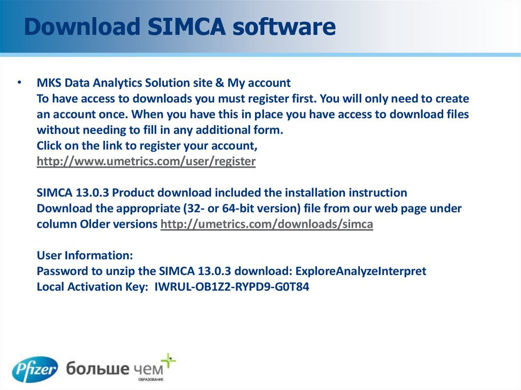 Download SIMCA software