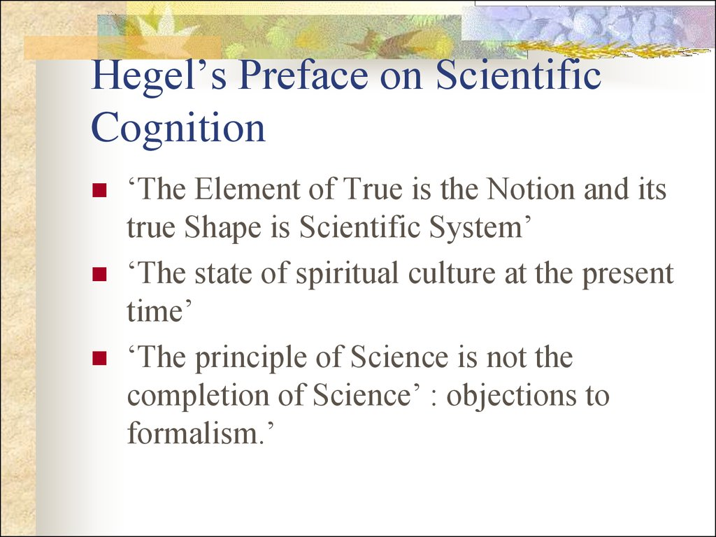 Hegel's Preface on Scientific Cognition