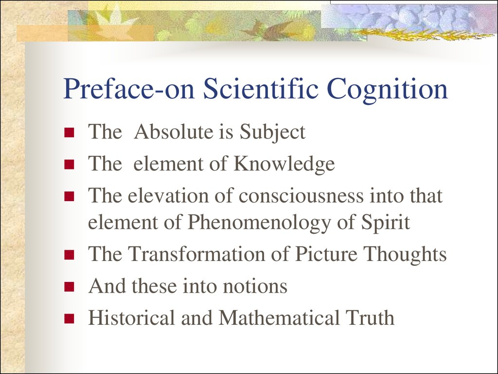 Preface-on Scientific Cognition