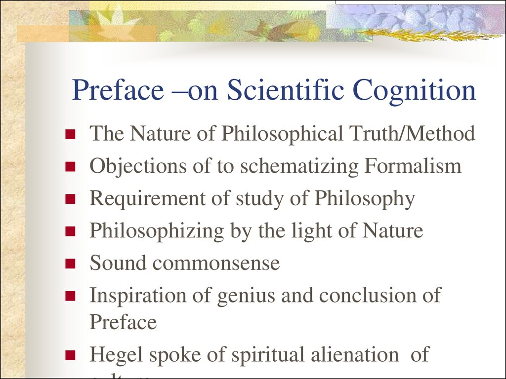 Preface –on Scientific Cognition