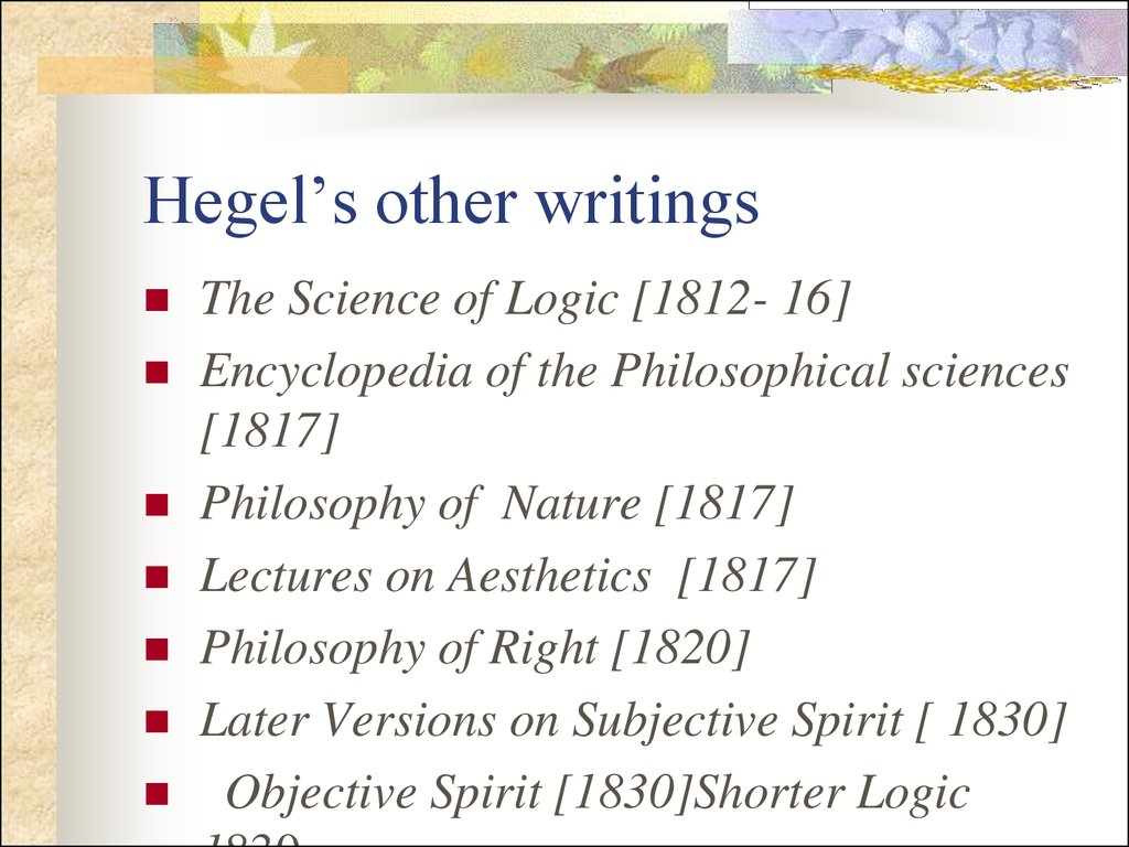 Hegel's other writings