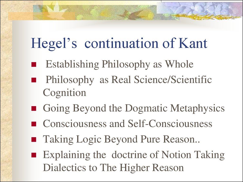Hegel's continuation of Kant
