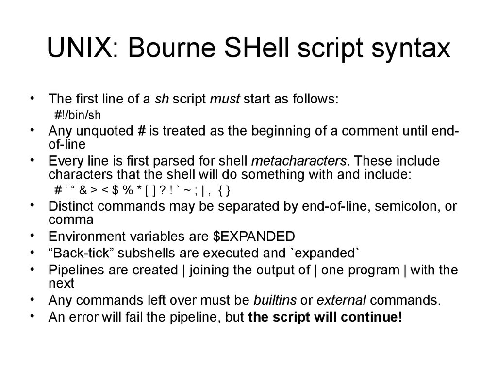 UNIX: Bourne SHell script syntax