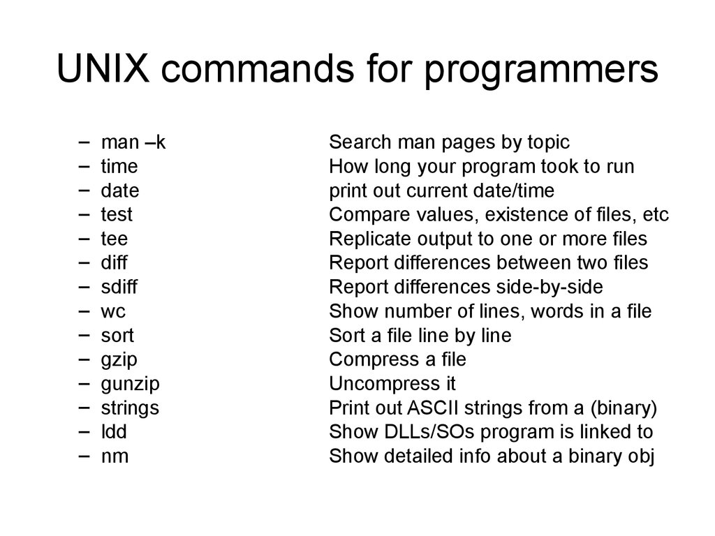 UNIX commands for programmers