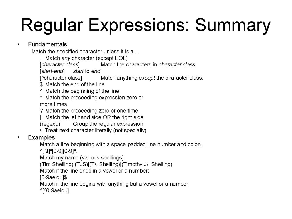 Regular Expressions: Summary