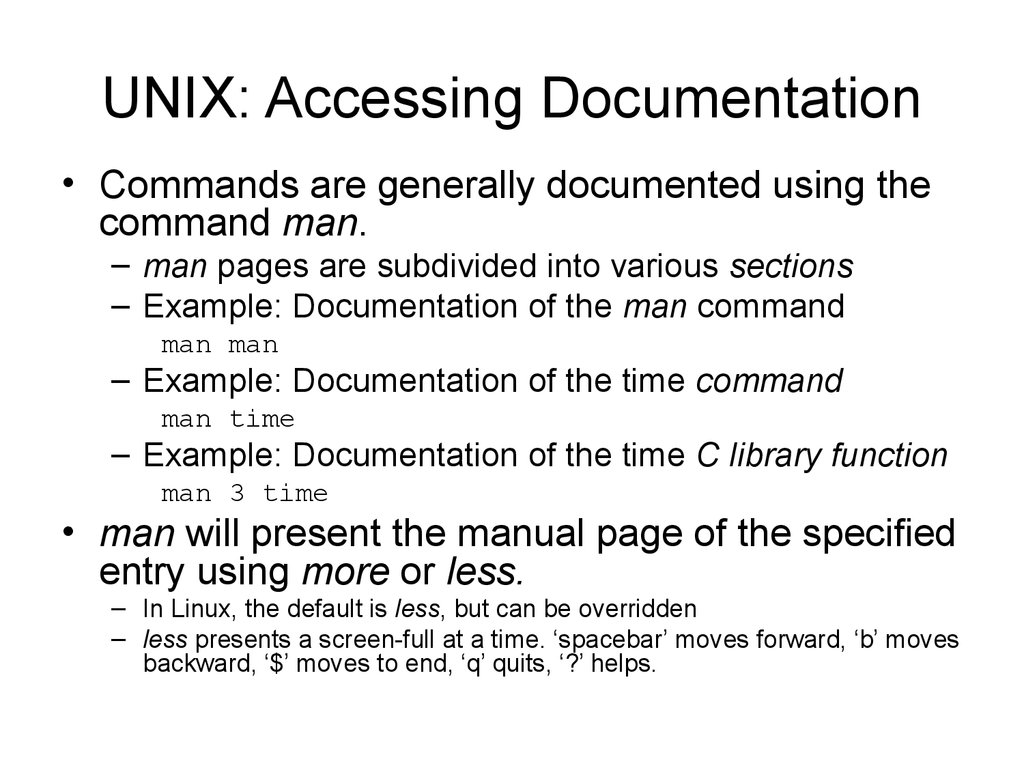 UNIX: Accessing Documentation