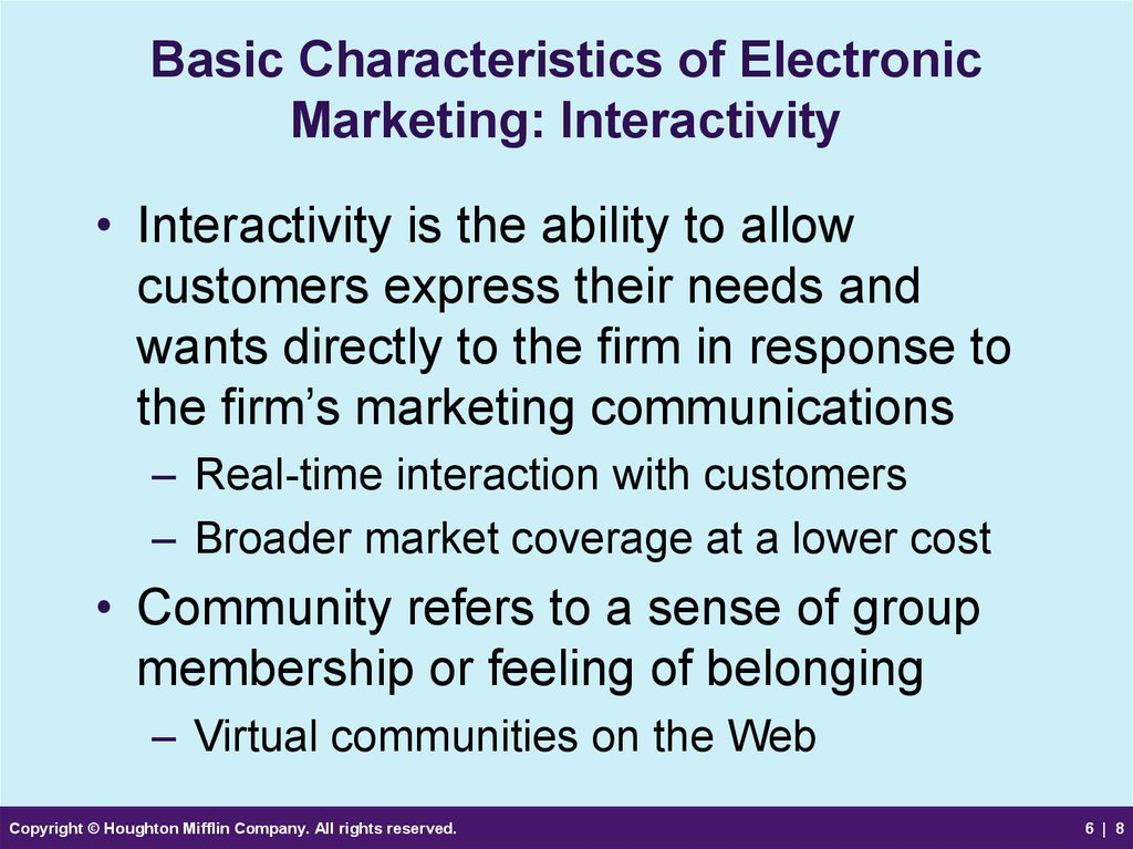 Basic Characteristics of Electronic Marketing: Interactivity