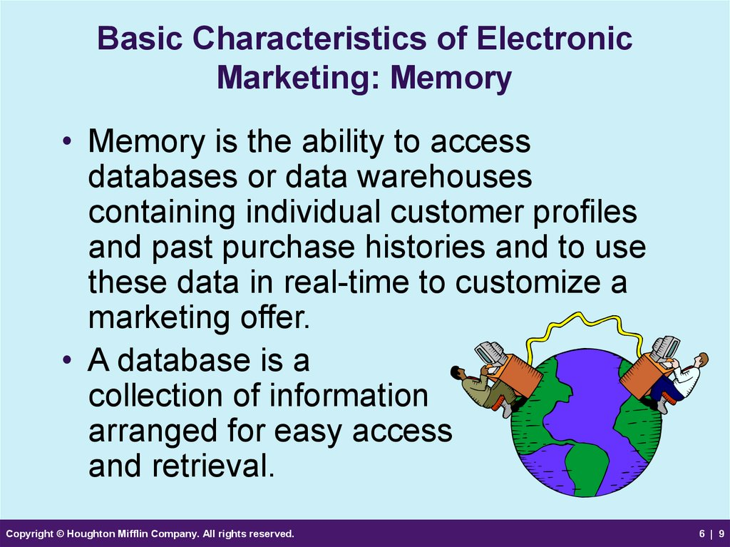 Basic Characteristics of Electronic Marketing: Memory