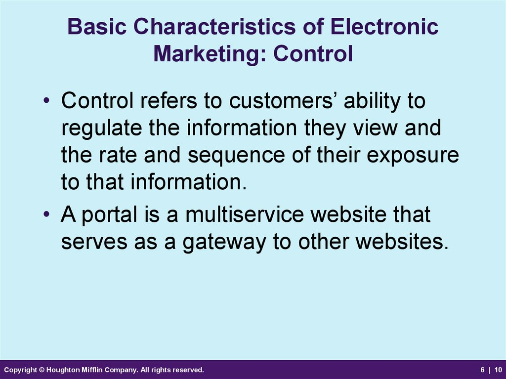 Basic Characteristics of Electronic Marketing: Control
