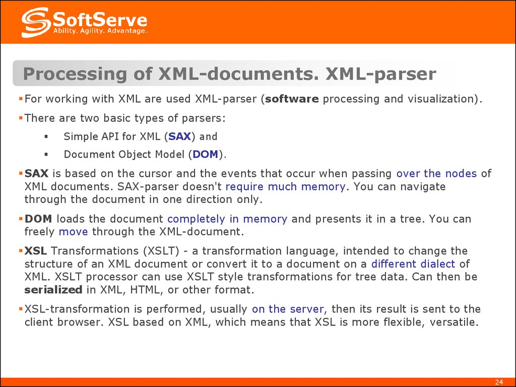 Processing of XML-documents. XML-parser